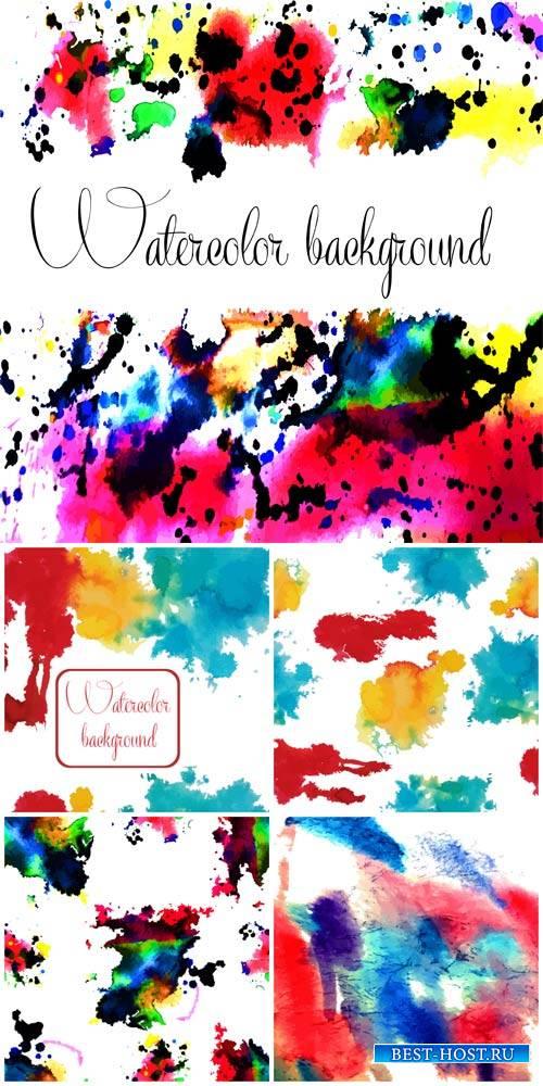 Векторные фоны с разноцветными красками / Vector backgrounds with colored inks