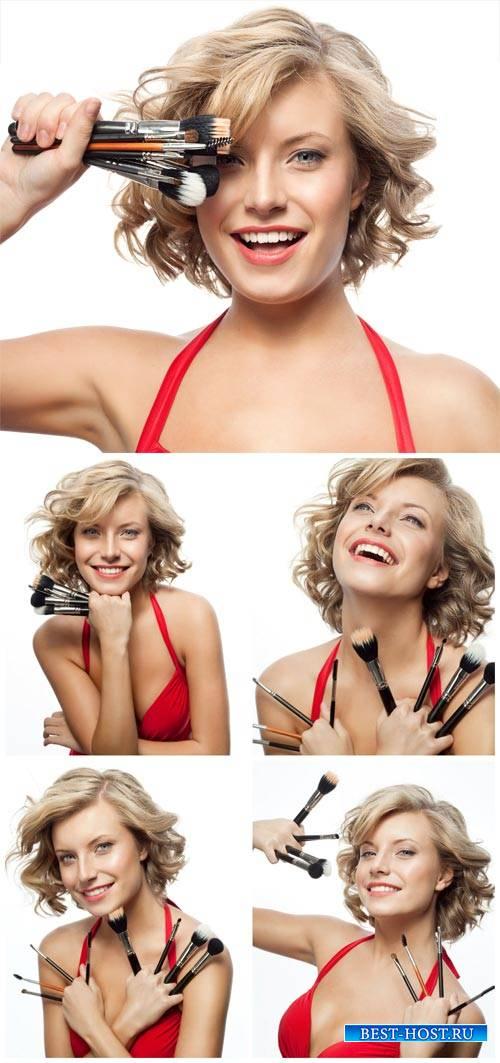 Девушка с кисточками для макияжа / Girl with brushes for make-up - Stock Photo