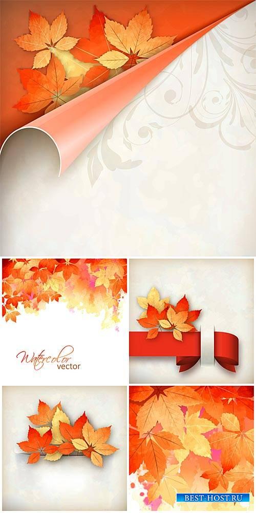 Осенние векторные фоны, оранжевые листья / Autumn vector background, orange leaves
