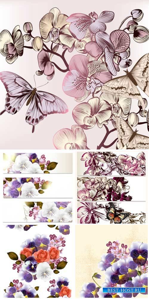 Цветочные фоны и баннеры, фиалки в векторе / Floral backgrounds and banners ...