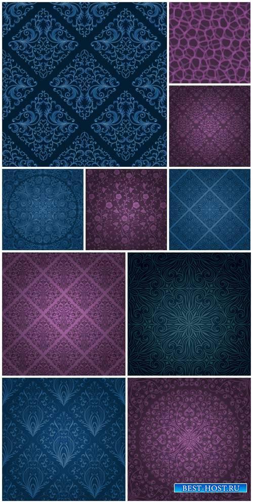 Винтажные векторные фоны с узорами / Vintage vector backgrounds with patterns # 2