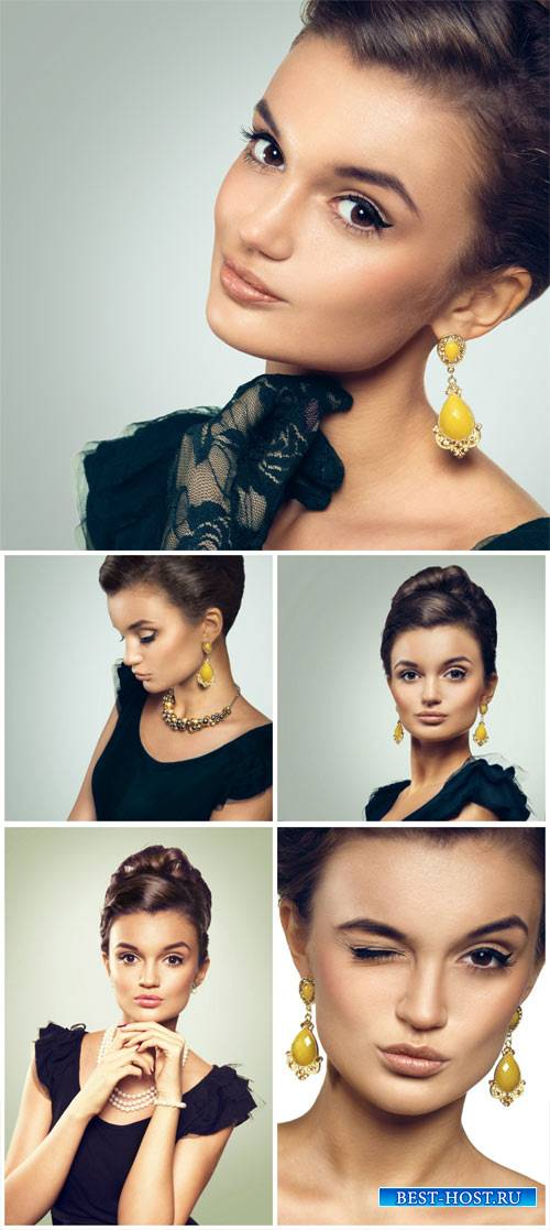 Стильная девушка в черном платье / Stylish girl in a black dress - Stock Photo