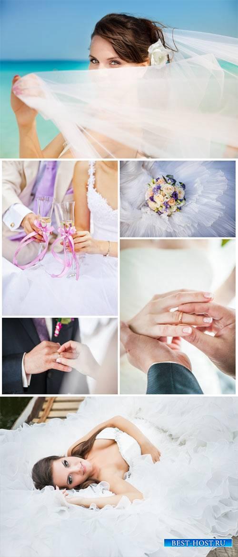 Свадебный коллаж, жених и невеста, бракосочетание / Wedding collage - Stock photo