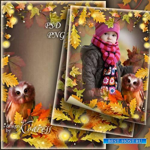 Фоторамка для детских фото с осенней листвой, цветами и симпатичным филином - Осенний лес загадок полон