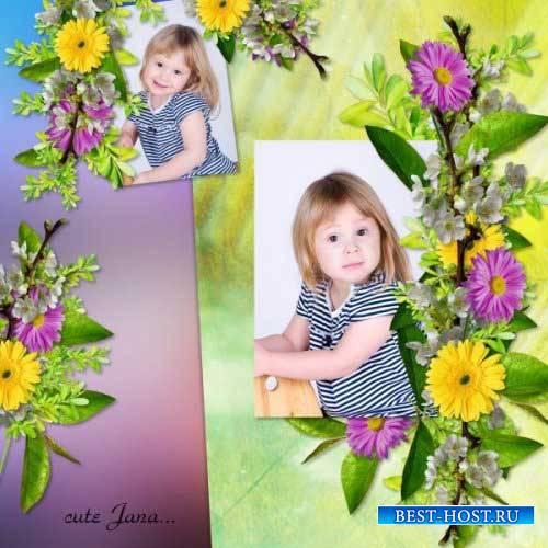 Цветочный скрап-комплект - Yellow Purple