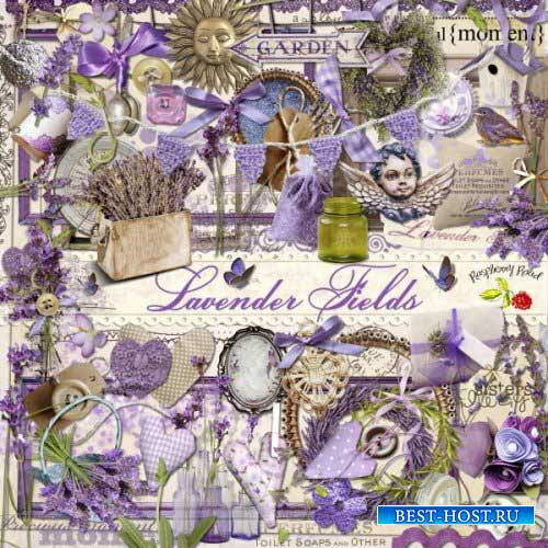 Цветочный скрап-комплект - Лавандовые поля