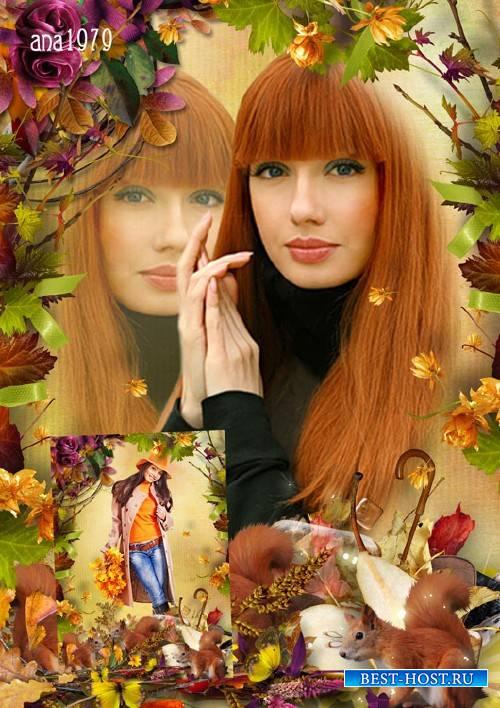 Рамка для фотошопа - Осень—рыжая красавица