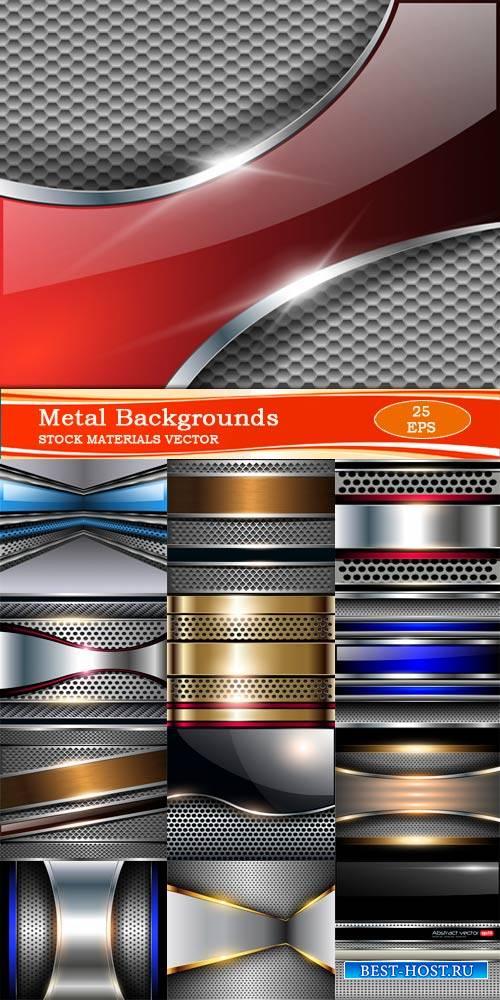 Элегантные металлические фоны в векторе