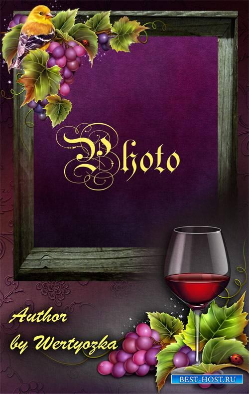 Винтажная рамка с виноградом и бокалом вина