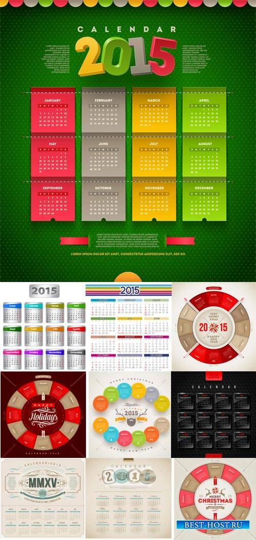 Календари 2015 в векторе / Calendar 2015 vector