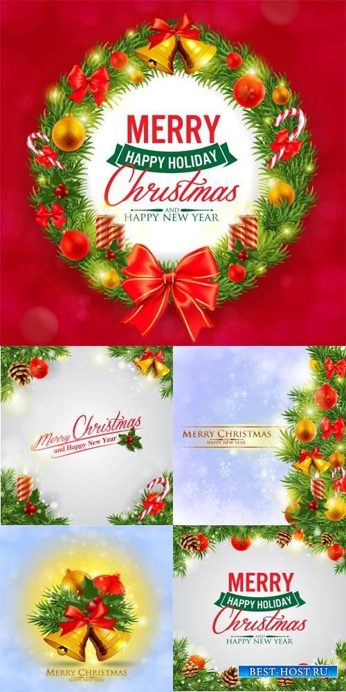 Новогодние и рождественские фоны в векторе / Christmas and New Year backgrounds vector # 1