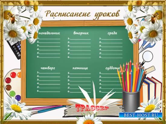 Бланк расписания уроков для школы - Живи моё ромашковое лето