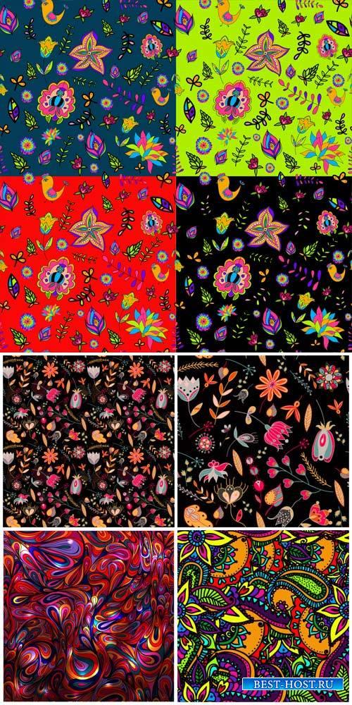 Векторные фоны с узорами и цветами / Vector backgrounds with patterns and colors # 1