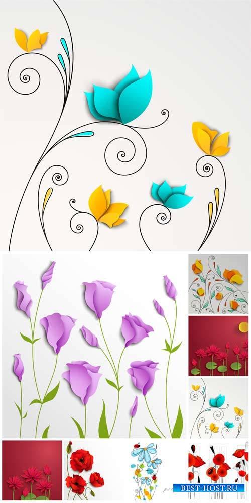 Цветы в векторе, лилии, красные маки / Flowers vector, lilies, red poppies