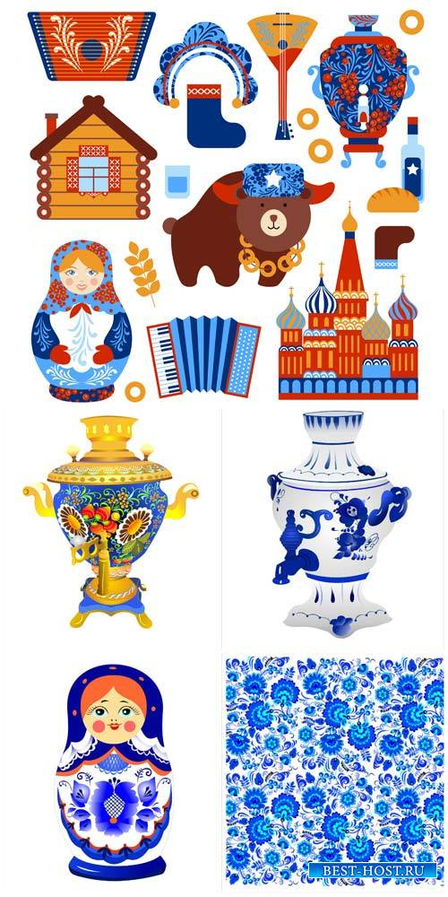 Самовары, матрешки в векторе / Samovars, dolls vector
