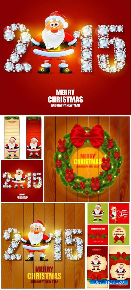 Рождественский вектор, санта клаус, фоны / Christmas vector, santa claus, b ...
