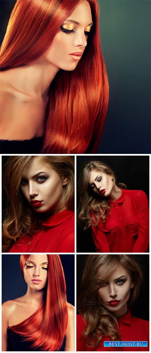 Модные девушки, женщина в красном / Fashionable girl, woman in red - Stock Photo