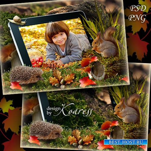 Детская рамка для фотошопа с белочкой и ежиком - Фото на планшете