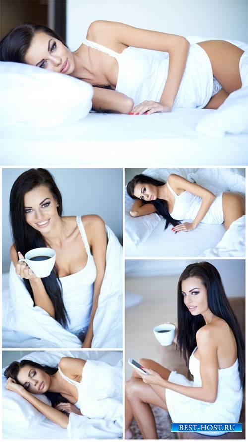 Красивая девушка с чашкой кофе / Beautiful girl with a cup of coffee - Stock Photo