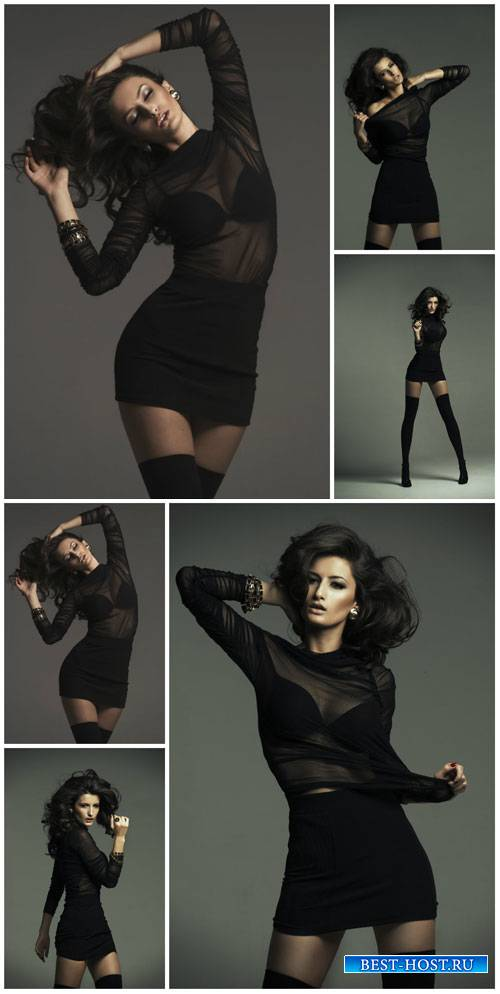 Стильная девушка в черном / Stylish girl in black - Stock Photo