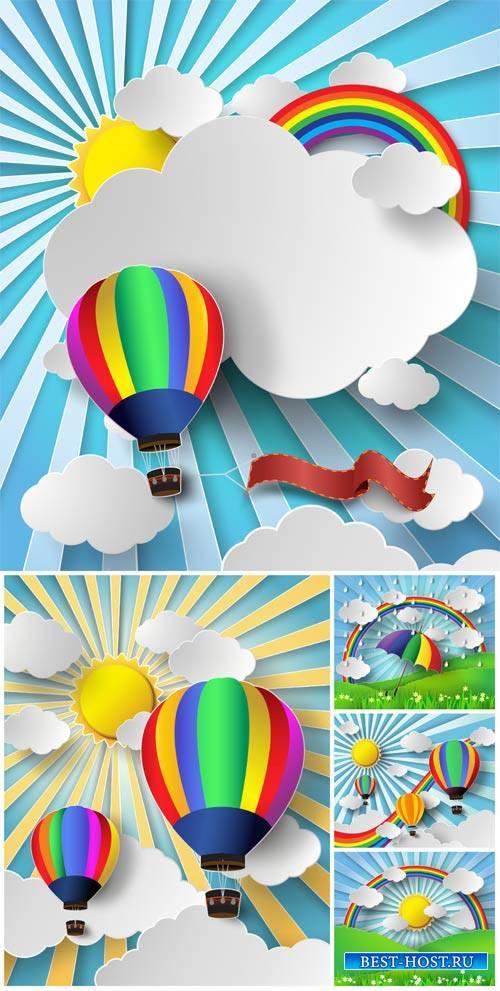 Воздушный шар в небе, векторные природные фоны / Hot air balloon in the sky
