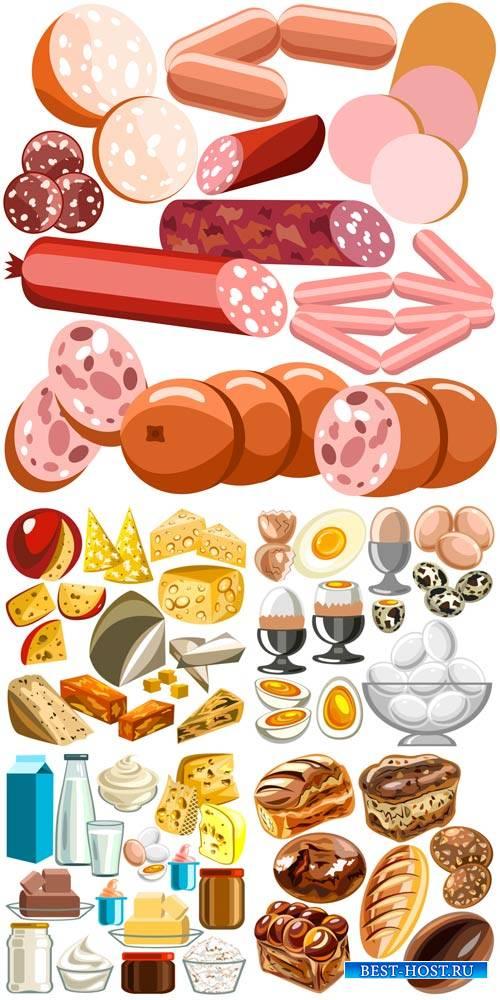 Еда в векторе, мясо, хлеб, сыр, молоко / Food vector, meat, bread, cheese, milk