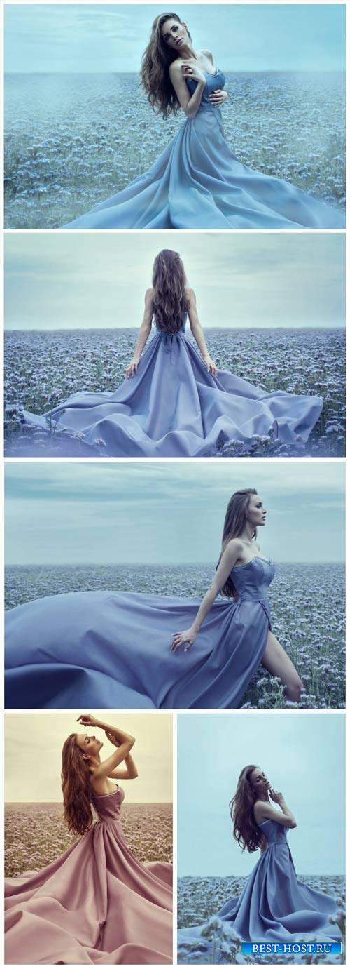 Девушка в красивом платье, поле с цветами / Girl in a beautiful dress - Stock Photo