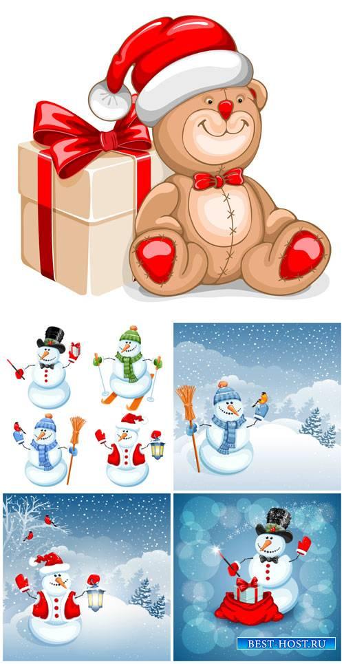 Рождественский вектор, снеговики / Christmas vector, snowmen
