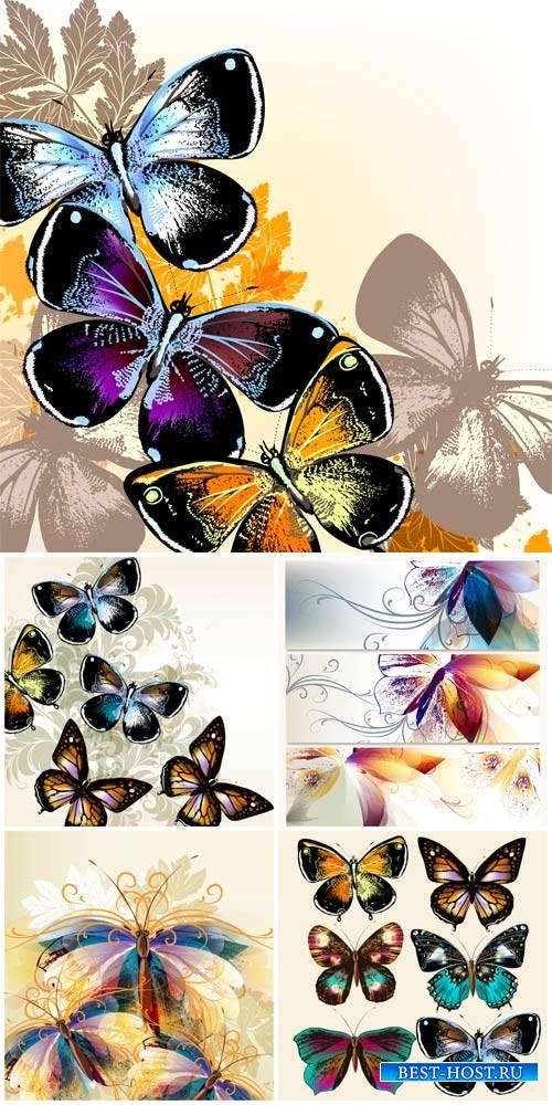 Бабочки, фоны и баннеры в векторе / Butterflies, backgrounds and banners ve ...