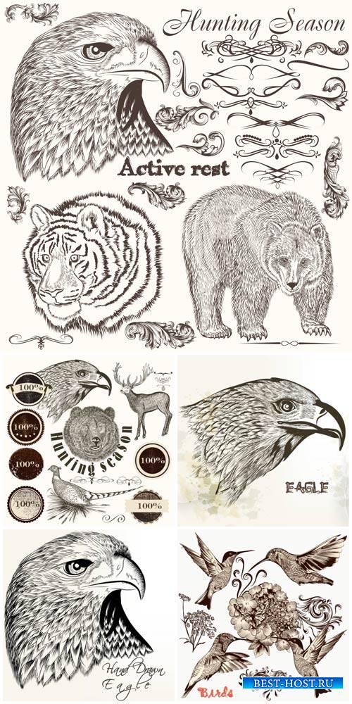 Животные и птицы в векторе, дизайнерские элементы / Animals and birds in vector, design elements