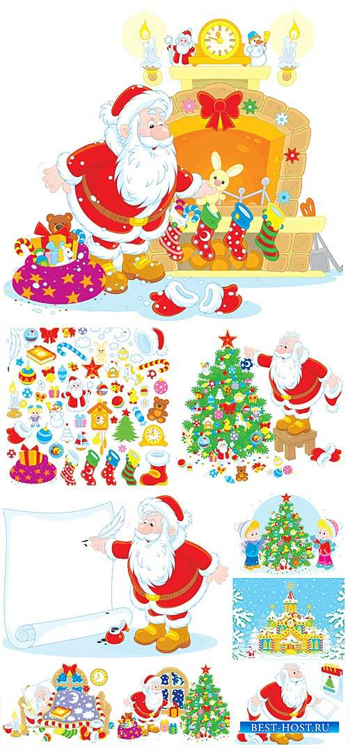 Санта клаус и рождественская елка / Santa Claus and Christmas tree #1