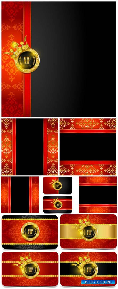 Вип карточки с золотым декором и векторные фоны / VIP card vector