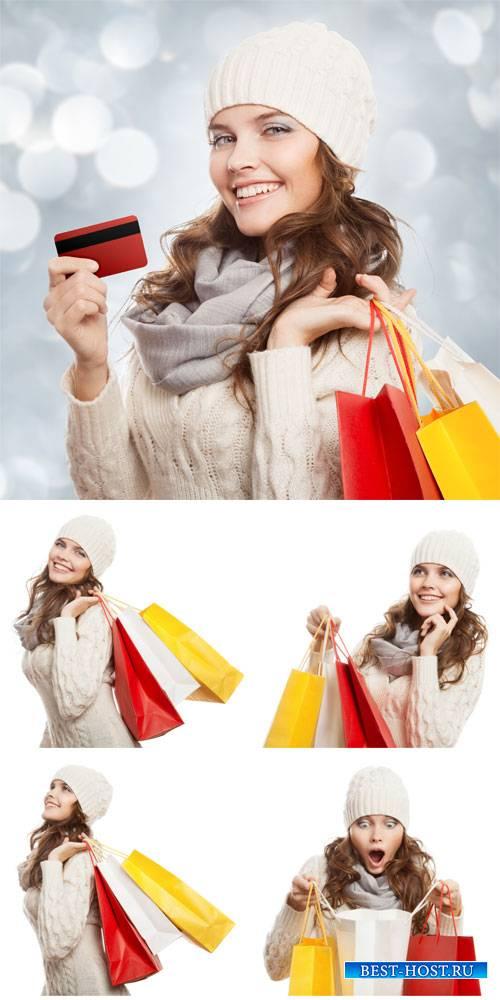 Покупки, распродажи, девушка с покупками / Purchase, sale, woman shopping - stock photos