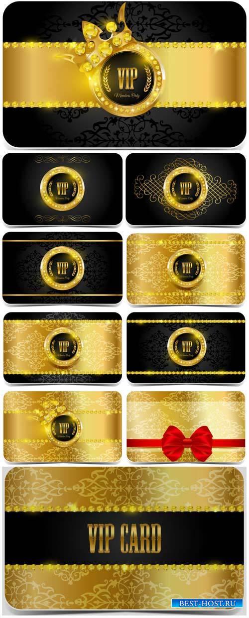 Вип карточки с золотым декором, вектор / VIP card with gold decoration, vec ...