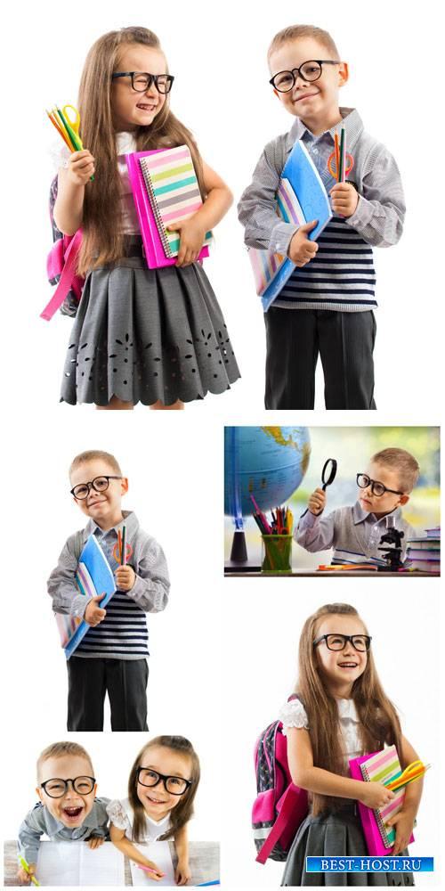 Дети, школьники, мальчик и девочка / Children, students, boy and girl - Stock Photo