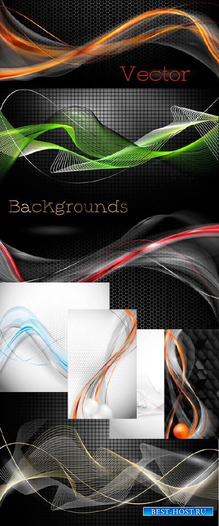 Абстрактные фоны с декоративными  линиями в Векторе