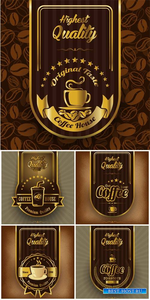Векторные фоны с кофе, этикетки / Vector backgrounds with coffee label