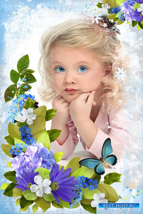 Цветочная рамка для фото - Голубоглазка