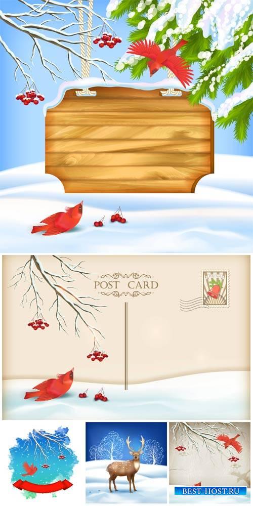 Зимние фоны с птицами, вектор / Winter background with birds, vector