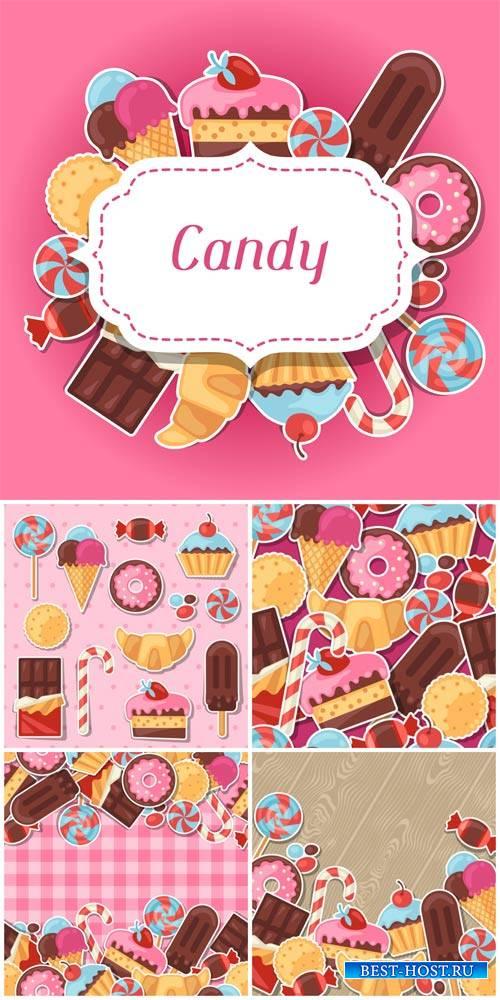 Сладости, векторные фоны с конфетами / Sweets, vector backgrounds with choc ...