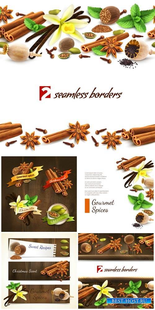 Специи, векторные фоны, корица, мак, ваниль / Spices, vector backgrounds, cinnamon, poppy seeds, vanilla