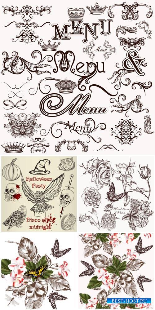 Дизайнерские элементы, животные, цветы и бабочки в векторе / Design elements vector