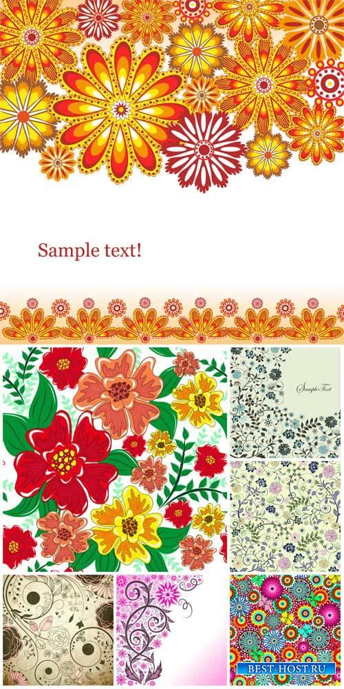 Цветочные узоры, векторные фоны с цветами / Floral patterns, vector backgrounds with flowers