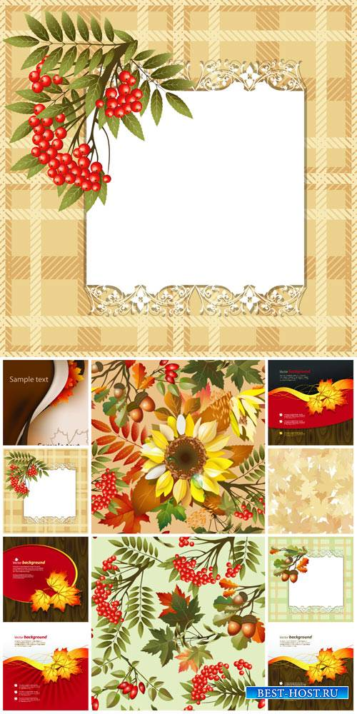 Осенний вектор, желтые листья, рябина, подсолнух / Autumn vector, yellow le ...