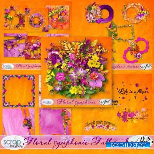 Яркий цветочный скрап-комплект - Цветочная симфония
