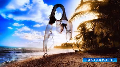Шаблон для фотомонтажа - Брюнетка на фоне красивого заката