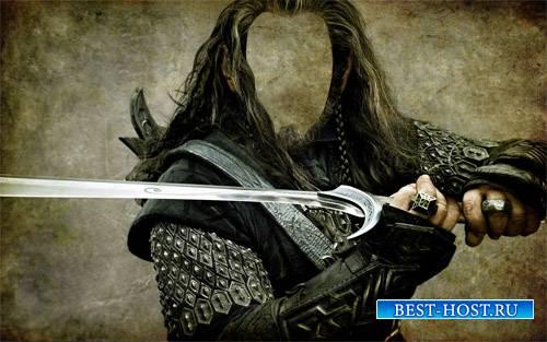 Воин со своим мечом - Шаблон для Photoshop
