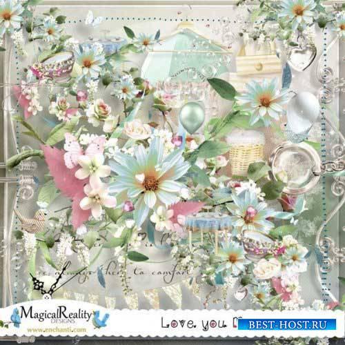 Цветочный скрап-комплект - Люблю тебя мамочка