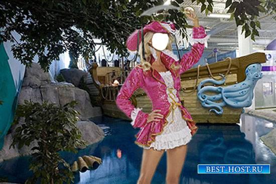 Женский фотошаблон - Красивая пиратка