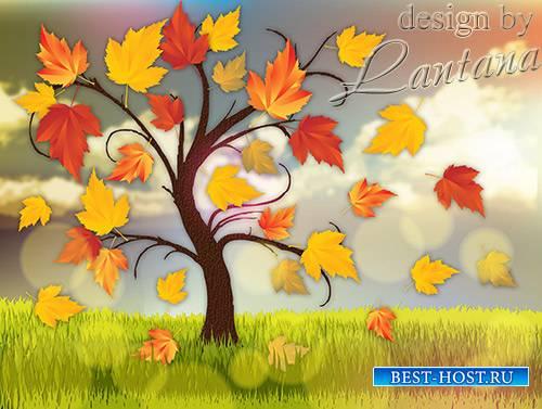 PSD исходник - Листопад, листопад, листья по ветру летят